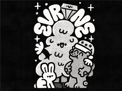 Evrone japanese kawaii branding ruby ruby on rails christmas fun cute doodle illustration design prints print