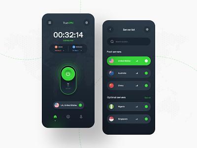 TrueVPN Mobile App Design internet location network new  noteworthy popular mobile product design data private shield security vpn app vpn mobile app design app design uiux ui design creative ui