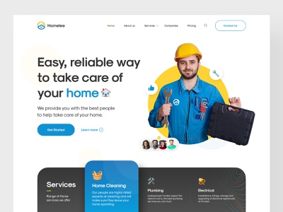 Home Service Website Concept design uiux creative new  noteworthy homepage cleaning services website design website popular inspiration piqo design product design uiux design ui design ui web design service landing page home service home