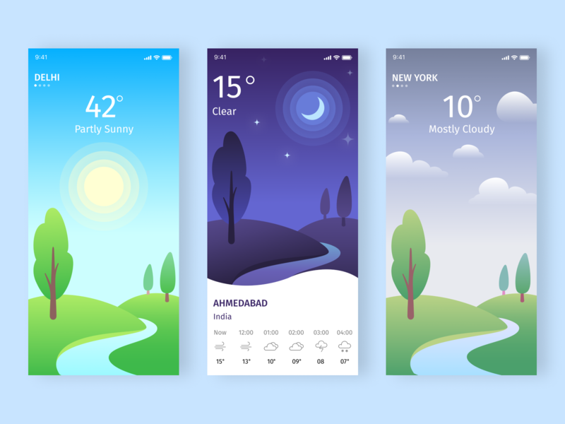 Weather App UI moon sun weather app weather icon ux ios design app app design flat design trending design ui uiux