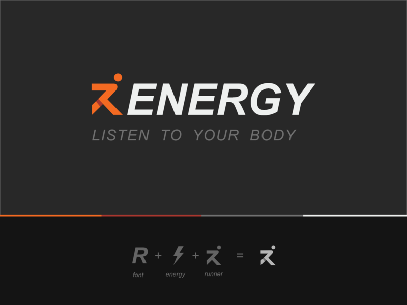 Renergy Logo Design black logo text logo gym logo running man run logo run energy logo energy icon ux vector logo illustration branding design uiux