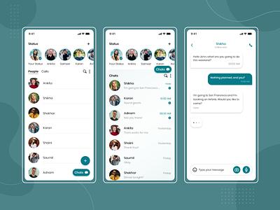 Online Messenger App flat design trending uiux application app design mobile ui chat bubble chat app talk bubble talk call avatar online send messenger app messages messenger