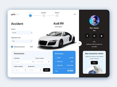 Car Insurance Ui Website branding app design design flat design trending uiux illustration web application design application minimal clean webdesign website insurance