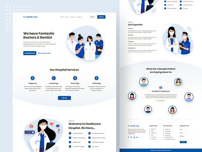 Healthcare Website website landing page flat design trending uiux website design webdesign health care doctors patients medicine medical agency illustration healthcare health