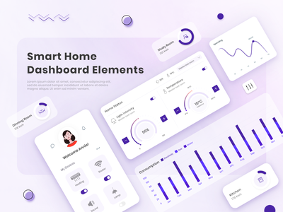 Smart Home Dashboard uiux energy statistic graph temperature minimal creativity clean design productdesign control admin room website component dashboard ui dashboard home smarthouse smarthome