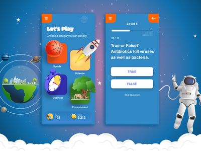 Quiz App ios design app design branding flat design trending uiux app design application quizz illustration chart question gredient quiz app quiz