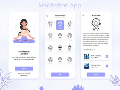 Meditation App minimal creative app flat design trending application modern meditate mood moody meditation app meditation design appdesign appdevelopment userinterface uiux media