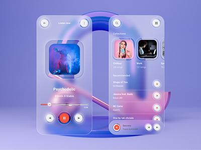 Neumorphic & Glassmorphic Mix Music Player ios app design trending uiux figma adobexd blur music player music app gradient concept branding glassy glassmorphism neumorphism neumorphic mobile app design mobile ui 2021 2021 trends