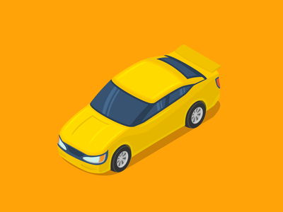 Yellow Car Isometric
