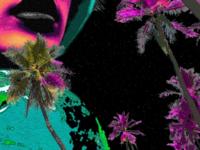 Broken vaporwave palm trees