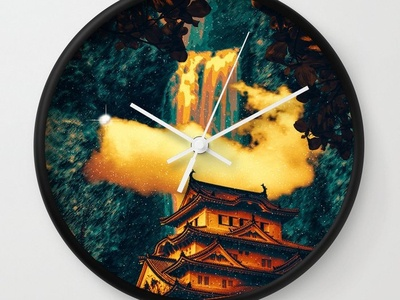 Home Temple Dreamscape Wall Clock planets nebula nebulae galaxies star cluster stars space inspiration fiction astronomy vaporwave sci-fi mood magic fantasy mystery overlays textures patterns experiment