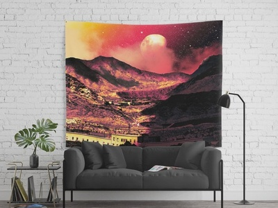 """""""Coves"""" Dreamscape Tapestry planets nebula nebulae galaxies star cluster stars space inspiration fiction astronomy vaporwave sci-fi mood magic fantasy mystery overlays textures patterns experiment"""