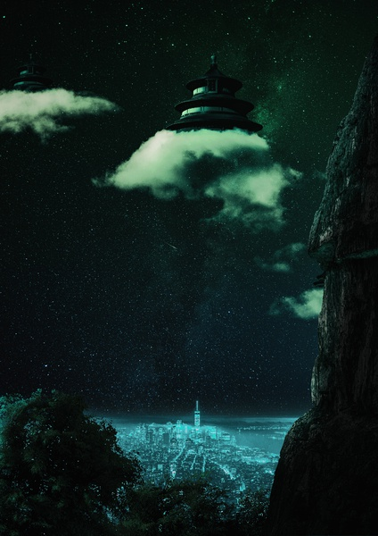 Foreclosures 4 - The Cloud People w/attachment fiction astronomy vaporwave sci-fi mood magic fantasy mystery overlays textures patterns experiment dlsr color digital japanese temple retro futurism retro future temple clouds