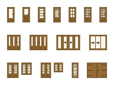 Doors & windows sketch icon illustration windows doors