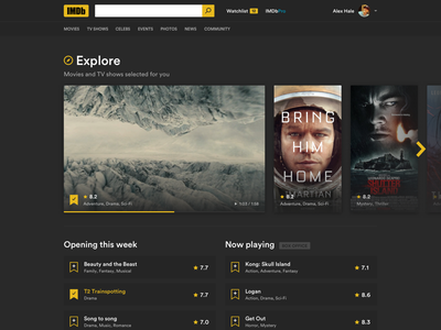 IMDb redesign framer flix trailer watchlist rating redesign dark movie poster movies imdb