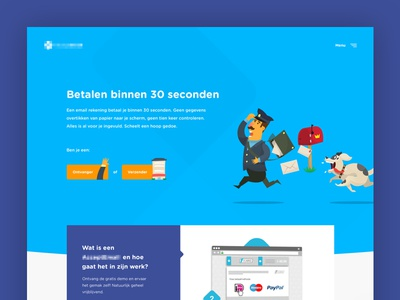 Pay your bills by email! cartoon header frontpage homepage flat ui ux design landingpage