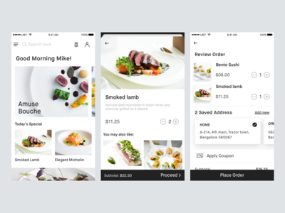 Food Delivery app concept white minimal kit ui app delivery food