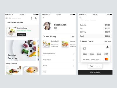 Food Delivery app concept II white minimal kit ui app delivery food