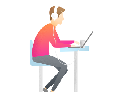 Man Working/listening listening music character 2d relaxing working illustration