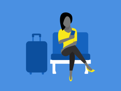 illustration-exploration-2 yellow blue character 2d relaxing working waiting illustration