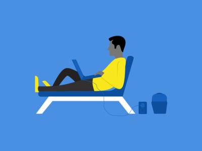 illustration-exploration-3 yellow blue listening music character 2d relaxing working illustration