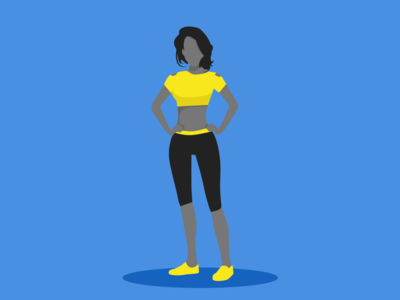 illustration-exploration-5 women standing yellow blue character 2d relaxing sports illustration