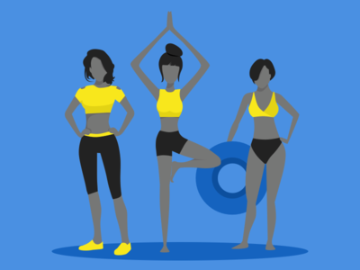 illustration-exploration-6 minimal app healthy active sports three women standing yellow blue character illustration