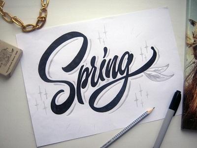 "Yap!! sketch ""Spring!"" lettering design art font logo logotype print hand type"