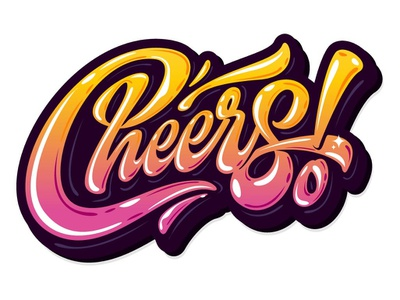 "my lettering ""Cheers!"" tags brush texture illustration scripty branding type custom logotype print vector typography calligraphy sign handlettering font design hand logo lettering"