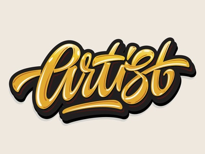 "My lettering ""Artist"" branding custom typography calligraphy sketch type vector illustration handlettering logotype design print logo lettering"