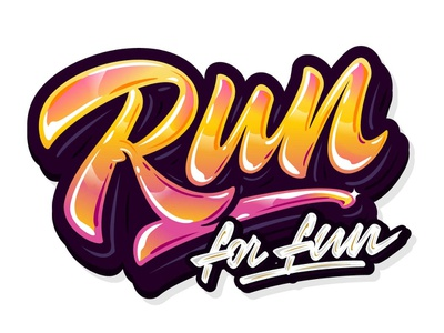 "My lettering ""Run for fun"" font style tags type brush sign custom branding hand sketch handlettering calligraphy typography vector illustration logotype design print logo lettering"