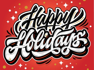 "Hey! My lettering ""Happy Holidays"" desing typography brush vector calligraphy sign sketch branding illustration hand logotype handlettering font design print logo lettering"