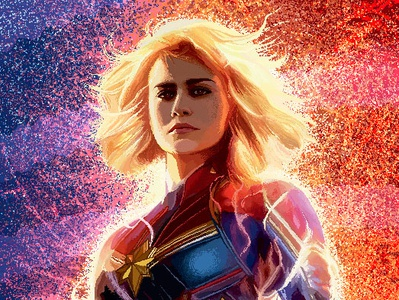 Captain Marvel in pixel girlpower digital 2d adobe photoshop pixelart 8bits avengers pixel fanart captain marvel marvel