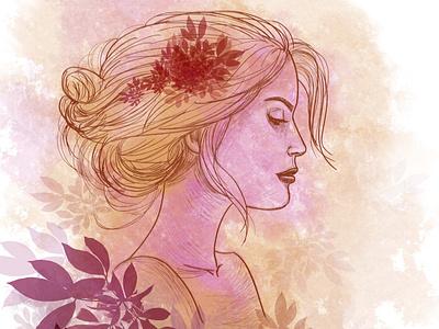 girl sketch sketching sketch art digital 2d illustration adobe photoshop