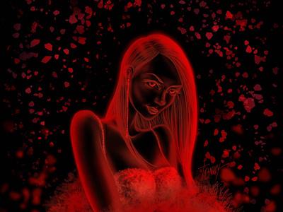 Say Hello visual drawing draw portrait art portrait concept girl illustration artwork artist art beautiful neon red characterdesign character girl dark art magic digital 2d illustration
