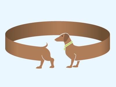 Chasing Your Tail dog weiner dog circle illustration