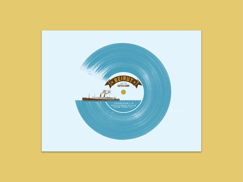 Beirut - New York beirut screen printing screen print french paper hand printed vinyl record vinyl tidal wave wave boat illustration screenprint