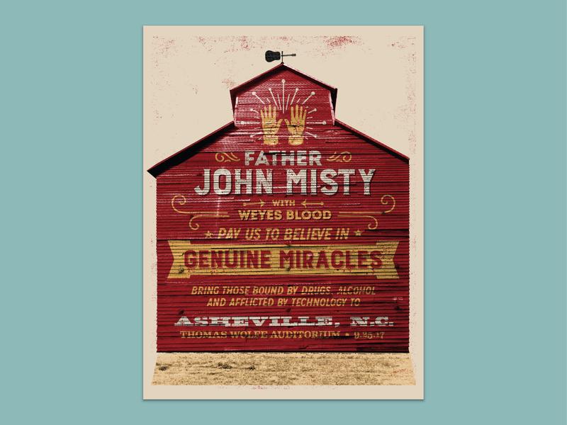 Father John Misty - Asheville josh tillman father john misty asheville printing gigposters gig poster french paper hand printed revival barn screen printed screen print
