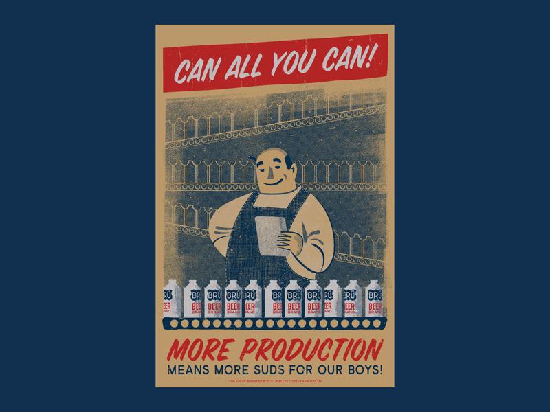 Can All You Can! screenprints wall art beer art propaganda propaganda poster production brewing beer blue hand printed french paper poster retro screen print illustration screenprint