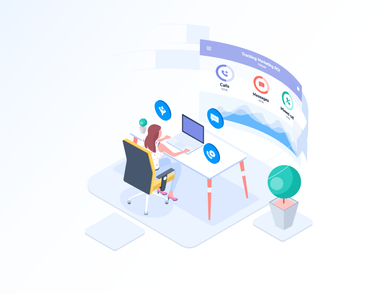 Tracking Marketing ROI illustration sms call exotel design illustration roi marketing tracking