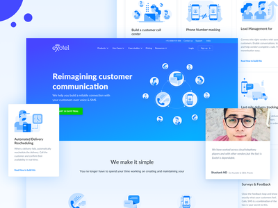 Website iteration for exotel customer sms call delivery exotel layout website design web