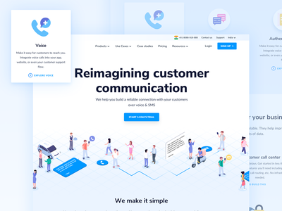 Exotel : Home page customer sms call exotel layout website design web
