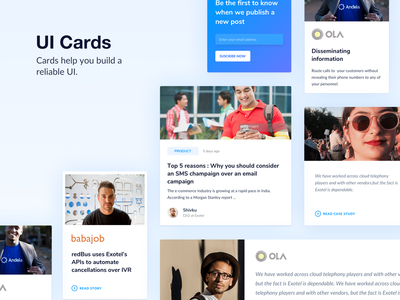 UI Cards customer sms call exotel layout website cards ui design web