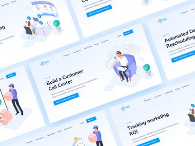 Website Headers customer sms call layout header website ui design web