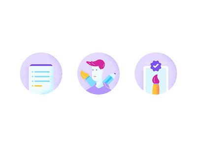 Mini illustrations icons illustrations process designer mini illustrations