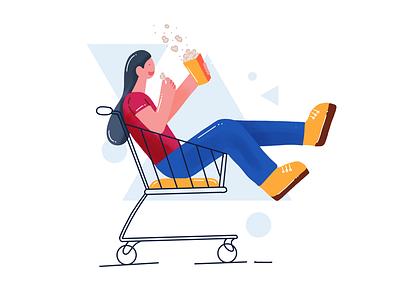 Shopping with fun freebie popcorn fun women shopping cart iconscout illustration