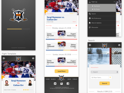 HockeyFights.com Mock UI Design sketch ui design app hockey