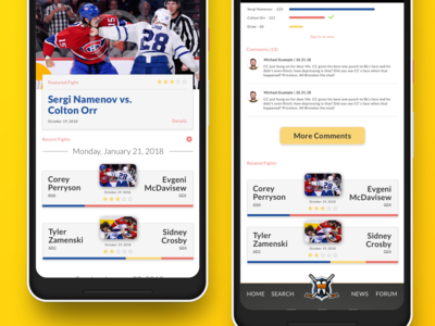 Device Mockups and better shot of the voting/comments. sketch ui design app ui hockey