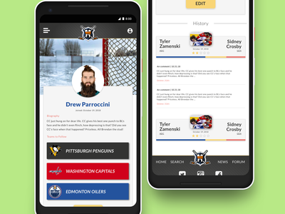 Profile page mockup with for fake hockeyfights app. hockey ui design app design sketch
