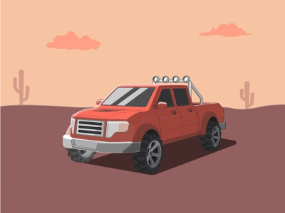 Desert pickup graphic design flat illustrator vector illustration design